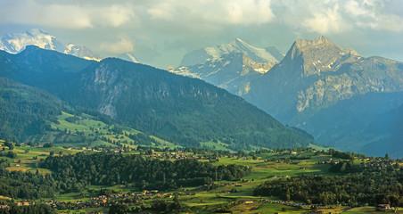 Wall Mural - Lake Thun Travel Destination Area In Switzerland.