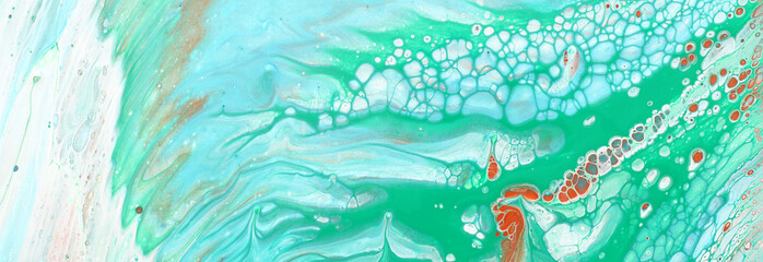 Photo sur Toile Pays d Asie art photography of abstract marbleized effect background. Aqua, mint, white and blue creative colors. Beautiful paint