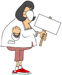 Angry woman wearing a face mask and holding a picket sign