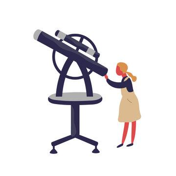 Cute little girl looking into telescope vector flat illustration