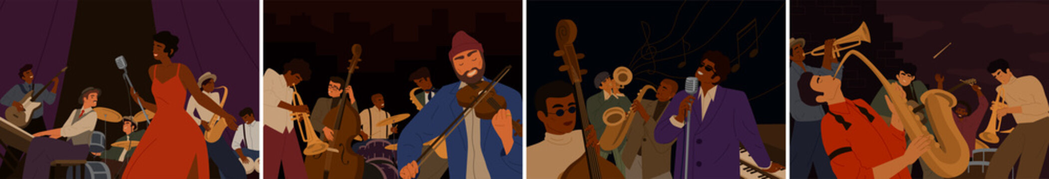 Set of cartoon diverse musicians playing on musical instruments and singing vector flat illustration. Collection artists of jazz band performing on stage or street. Colorful play in orchestra