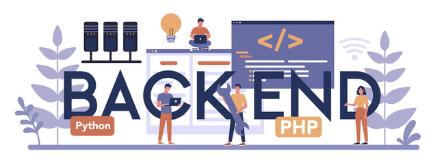 Back end typographic header concept. Software development process.