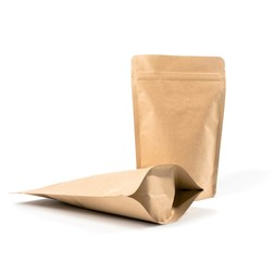 Blank packaging recycled paper bags, coffee bags on white background on white background 3d Illustration
