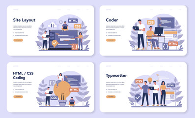 Typersetter web banner or landing page set. Website constructing.