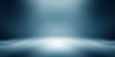 Fotobehang - perspective floor backdrop blue room studio with light blue gradient spotlight backdrop background for display your product or artwork