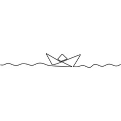 Continuous one drawn line of paper ship isolated on white background. Origami ship boat business icon concept drawn by hand picture silhouette. Vector design illustration
