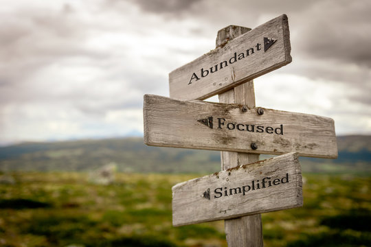 abundant focused simplified text engraved on wooden signpost outdoors in nature.