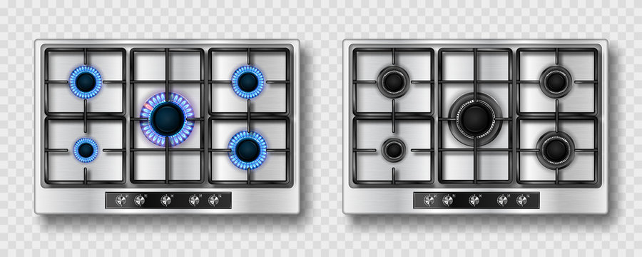 Gas stove with blue flame and black steel grate. Kitchen stainless cooktop with lit and off burners. Vector realistic set of burning propane butane on hob top view isolated on transparent background