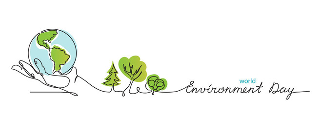 World environment day simple vector web banner, poster with earth and trees. One continuous line drawing. Minimalist banner, illustration with lettering environment day. Fotomurales
