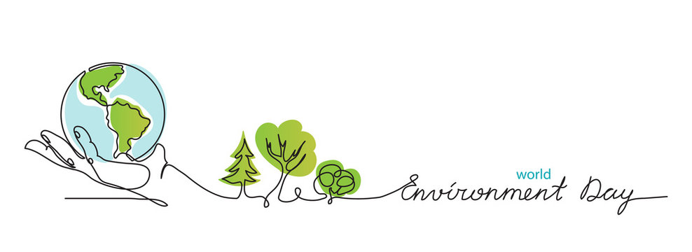 World environment day simple vector web banner, poster with earth and trees. One continuous line drawing. Minimalist banner, illustration with lettering environment day.
