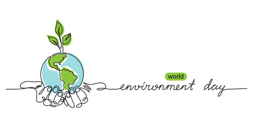 Fototapeta World environment day minimalist vector background with earth in hands and plant. One continuous line drawing. Poster, banner, background with lettering environment day.