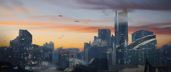 Digital painting of a futuristic sci-fi fantasy city with flying cars against a beautiful sunset - digital science fiction illustration