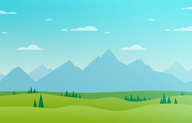 Foto auf AluDibond Turkis drawing of a beautiful landscape in the nature with mountains, trees and a blue sky with clouds - nice flat design illustration for a background wallpaper or an adventure story