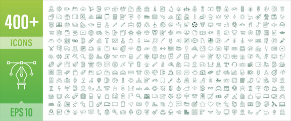 400 Line art set with icon set. Thin line. Social media, technology, seo, logistic, education, sport, medicine, travel, weather, construction, finance, contact us, music. Vector stock illustration. Fototapete