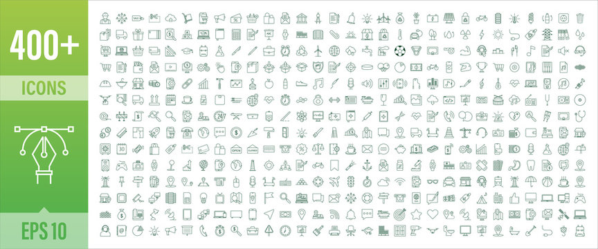 400 Line art set with icon set. Thin line. Social media, technology, seo, logistic, education, sport, medicine, travel, weather, construction, finance, contact us, music. Vector stock illustration.