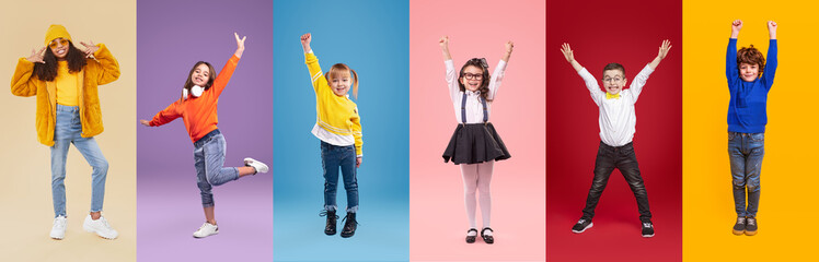 Stylish diverse kids having fun