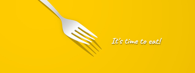 Fork on a yellow background. Forks for the design of a restaurant, cafe, pizzeria. Minimalistic kitchen fork design for advertising purposes. It's time to eat!
