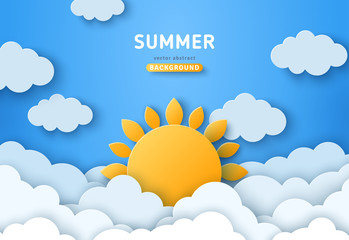 Summer day concept vector illustration. Cloudscape, blue sky with fluffy clouds and sun. Paper cut style. Place for text Fotobehang
