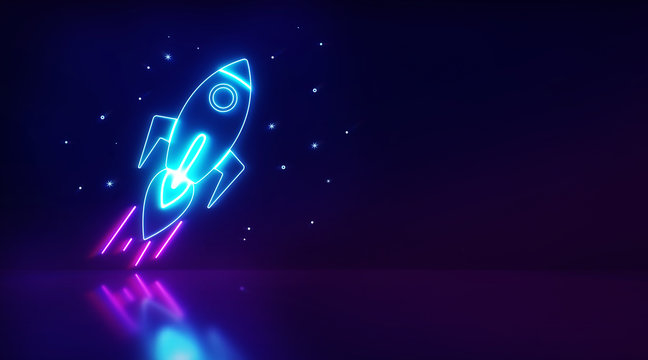 Rocket launch and stars light with background dark. Startup digital neon light, Elements of Space set. Business. 3d rendering - illustration.