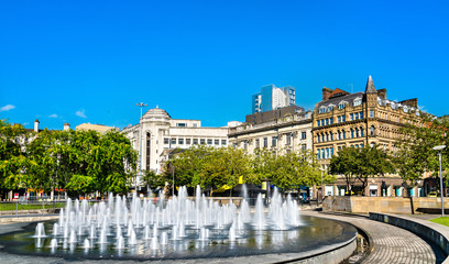 Fountains at Piccadilly garden in Manchester, England