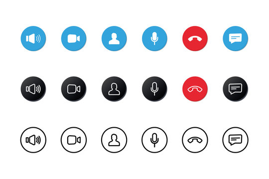 Set of Video call icons. Video conference. Collections buttons of on-line video chat app, internet talk, call technology. Web app ui display template. Videoconferencing and online meeting workspace