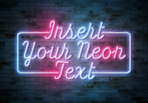 Neon Text Effect on Brick Wall with Wires Mockup