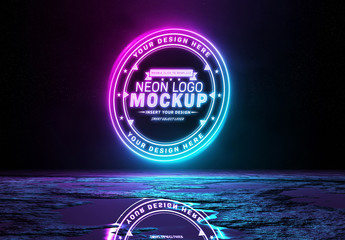 Reflective Neon Light Logo Mockup