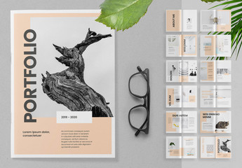 Portfolio Brochure Layout with Peach Accents