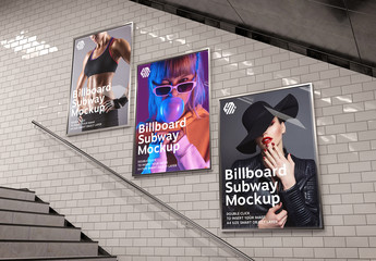 Billboards on Underground Stairs Wall Mockup