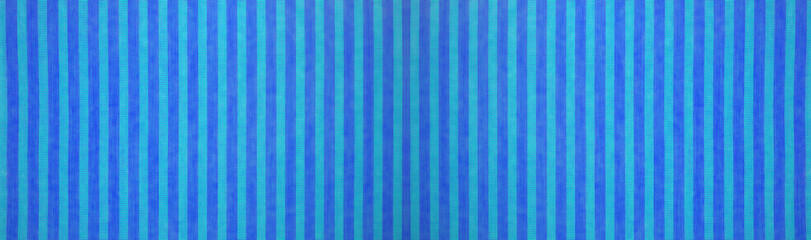 Blue turquoise striped natural cotton linen textile texture background banner panorama