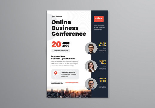 Online Business Conference Flyer Layout