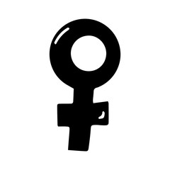 Cute hand drawn doodle female symbol. Isolated on white background. Vector stock illustration.