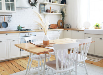 Scandinavian-style kitchen interior, vintage appliances and atmosphere