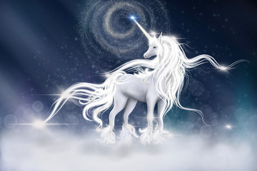 illustration of  Unicorn with sky galaxy fantasy background in blue color. Digital CG painting of Fantasy Horse with lightning strike,  Bed time story fairy tale concept