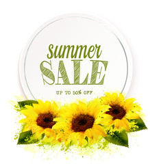 Wall Mural - Summer sale background with yellow sunflowers. Vector.