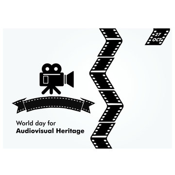 world day for audiovisual heritage illustration background. banner. design concept
