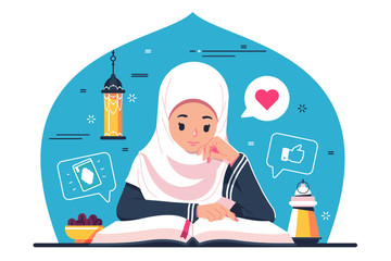 Islamic Girl character reading Quran