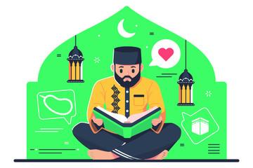 Islamic character reading Quran