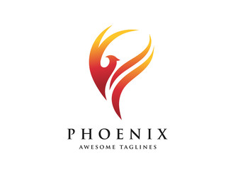 fire bird phoenix logo design vector illustrations graphic.