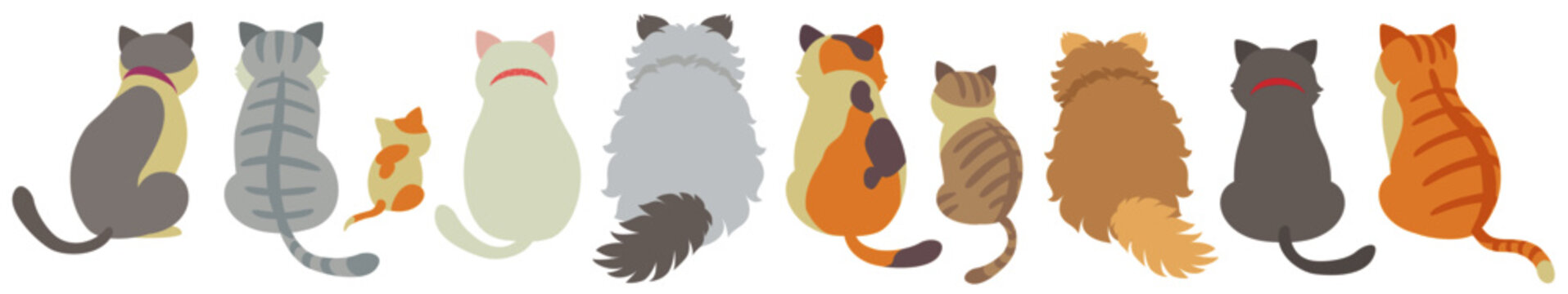 Back view of cute cats on white background. Vector illustration in flat cartoon style.