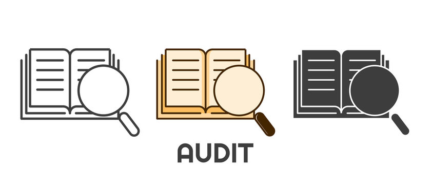 Audit icon set in different style. Book and magnifying glass illustration. Isolated on white background.