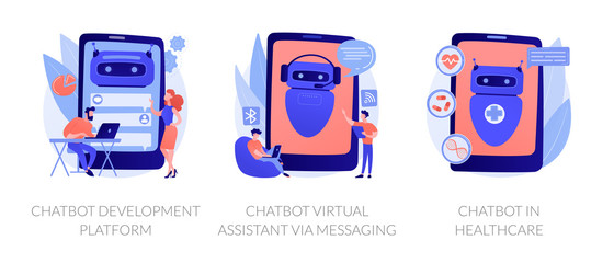 Wall Mural - Chat bot, support automated technologies. Chatbot development platform, chatbot virtual assistant via messaging, chatbot in healthcare metaphors. Vector isolated concept metaphor illustrations.