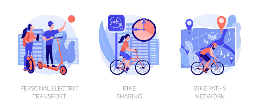 Modern self balancing unicycle, scooter rider. Ecological transportation means. Personal electric transport, bike sharing, bike paths network metaphors. Vector isolated concept metaphor illustrations