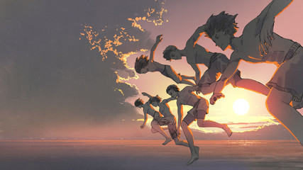 the group of young men running and jumping into the ocean togetther at sunset, digital art style, illustration painting