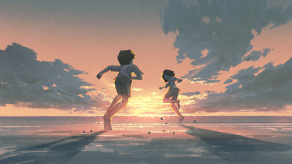 Foto op Aluminium Grandfailure boy and girl running on the beach to see the sunrise on the horizon, digital art style, illustration painting