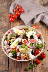Wall Mural - mixed vegetable salad with egg, tuna, rice and vegetable