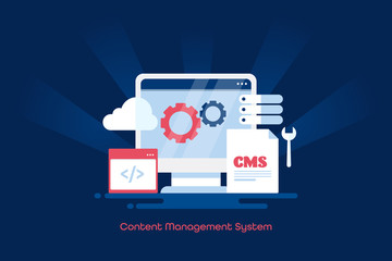 Cms, content management system, cms software for website, business blogging, internet and technology. Cloud system web banner design.