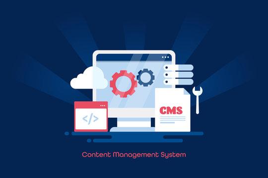 Cms, content management system, cms software for website, business blogging, internet and technology. Cloud system web banner design.