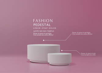 Fototapeta Vector pink minimal scene , podiumfor cosmetic product presentation. Abstract background with geometric podium platform in pastel colors. Template for design, presentation, advertisement.3d rendered. obraz