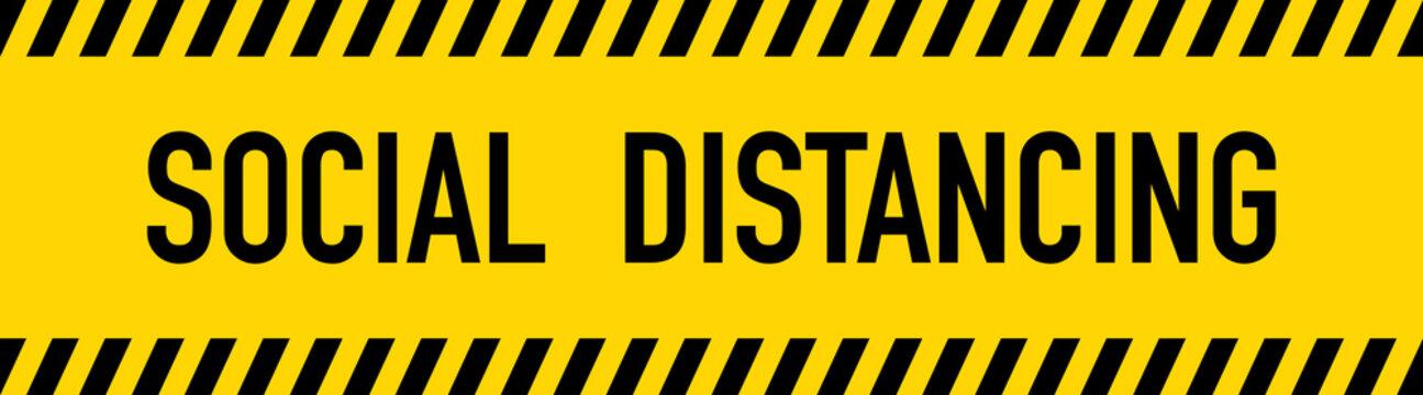 PSocial Distancing Yellow Warning Tape